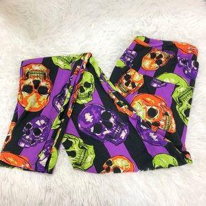 NWT LuLaRoe TC Halloween Skulls & Stripes Leggings